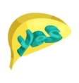 Yes word in a speech bubble icon cartoon style vector image