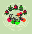 thank you lettering with flowers on green vector image