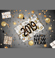 2019 happy new year card with winter forest vector image