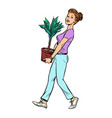 a woman carries a pot with a potted plant vector image vector image