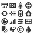 air conditioner icons set on white background vector image