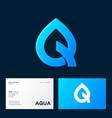 aqua logo spa therapy emblem letter q like drop vector image