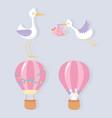 baby shower cute stork little girl hot air vector image vector image