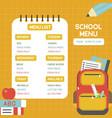 Back to school school menu poster template