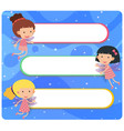 banner template with fairies flying vector image vector image