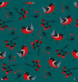 bird seamless pattern bullfinch birds on a modern vector image