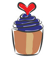 blue jelly cupcake with red heart on white vector image vector image