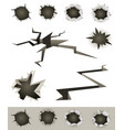 bullet holes cracks and slashes set vector image