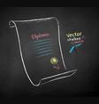 chalk drawn diploma scroll vector image