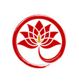 circle red lotus diamond abstract logo vector image