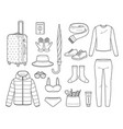 clothes and necessities for winter season travel vector image vector image