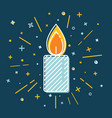 colored christmas candle icon in thin line style vector image vector image