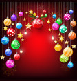 colorful glitter golden star and christmas balls vector image