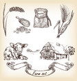 cow farm house sack grain meal wheat vector image vector image