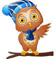 cute cartoon owl in a hat and scarf on tree branch vector image