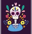 day dead skeleton flowers festival vector image vector image