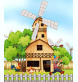 farmer and chickens by the windmill vector image vector image