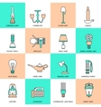 Flashlight and Lamps Icons Flat Line vector image vector image