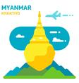 Flat design Kyaiktiyo pagoda vector image vector image