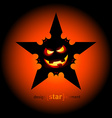 Halloween star with flying bats and smile pumpkin vector image vector image
