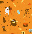 Halloween theme pattern skeletons and monsters vector image vector image