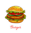 hamburger fast food cheeseburger icon vector image vector image
