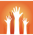 hands up on an orange background vector image