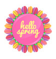 hello spring concept banner with flowers vector image vector image