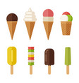 ice cream flat icons set vector image vector image