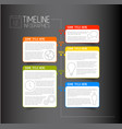 infographic dark timeline report template with vector image