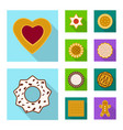 isolated object of biscuit and bake logo set of vector image