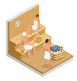 isometric interior wooden finnish sauna and vector image vector image