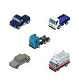 isometric transport set of lorry auto truck and vector image vector image