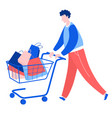 man walking with purchase buy paper bags trolley vector image