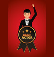 man waving in stylish clothes with award best vector image