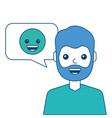 man with smile emoticon in speech bubble vector image vector image