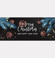 merry christmas and happy new year website banner vector image vector image