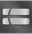 metal perforated background with two long cut iron vector image vector image