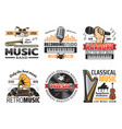 music record studio and orchestra band retro icons vector image vector image