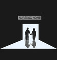 old men and women are entering nursing home vector image