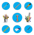 Pencil cutter and eraser with ruler for icon vector image vector image