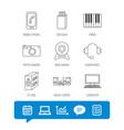 Photo camera headphones and usb flash icons