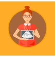 Pregnant woman with ultrasound image vector image