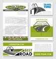 road trip poster car travel banner template set vector image vector image