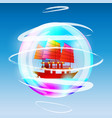 sailing ship in a bubble vector image
