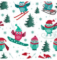 seamless pattern with active sport owls vector image vector image