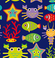 Seamless pattern with marine animals on a dark vector image vector image