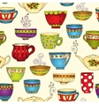 Seamless tea pattern with doodle teapots and cups