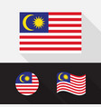 set malaysia flag flat design vector image vector image
