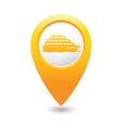 ship icon yellow map pointer vector image vector image